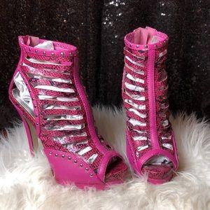 Shoes - Pink Snakeskin Bootie Heels